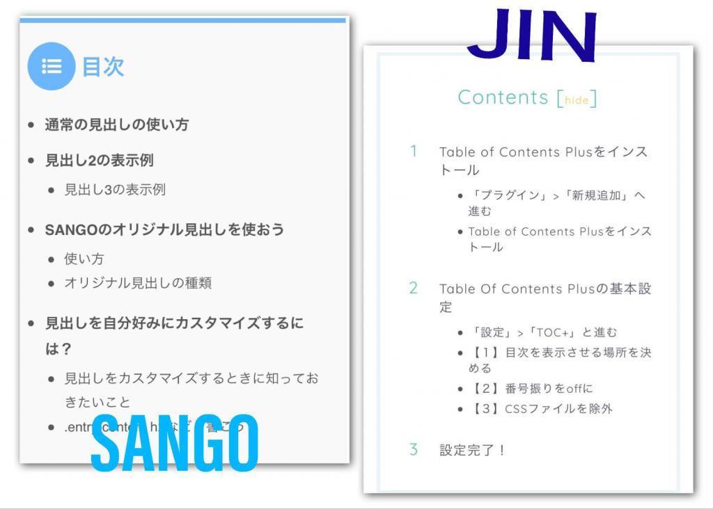 SANGO VS JIN比較_目次デザイン