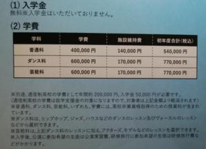 東京芸能学園の学費の画像