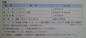 高野山高等学校の学費の画像