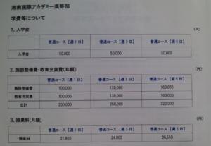 湘南国際アカデミー高等部の学費の画像