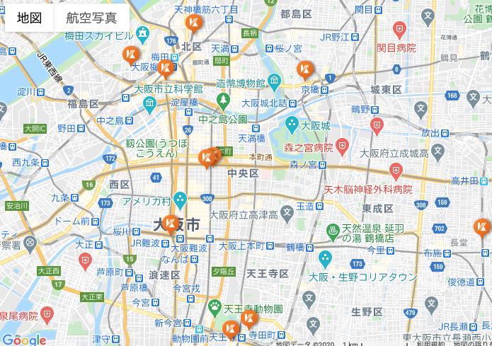 大阪市内にある鹿島学園のキャンパスの分布は上記の通りです