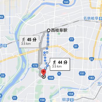 西岐阜駅から徒歩45分程度の場所にフロンティア高校があります