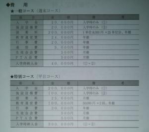 霞ヶ関高等学校の学費の画像
