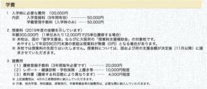 秋桜高等学校の学費の画像